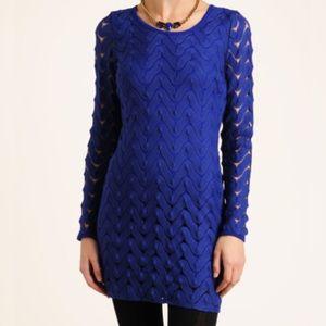 Free People Zig Zag Knit Lace Dress in Bright Blue